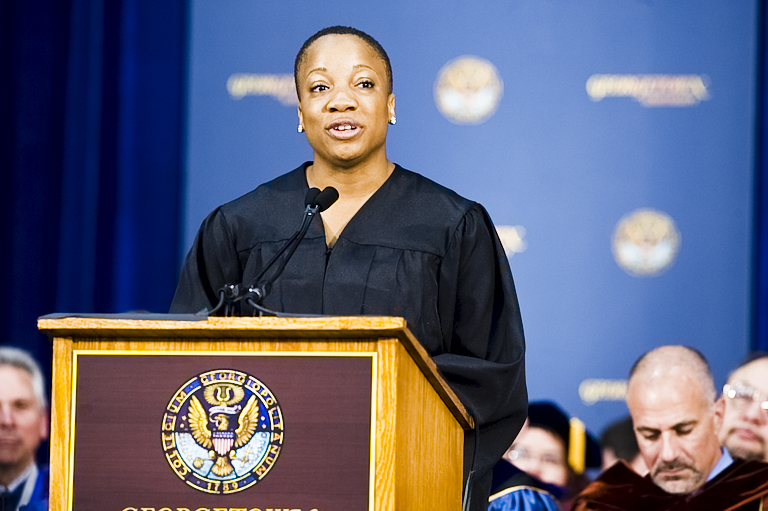 Pamela Nwaoko on stage giving a speech during Georgetown's 2010 Convocation.