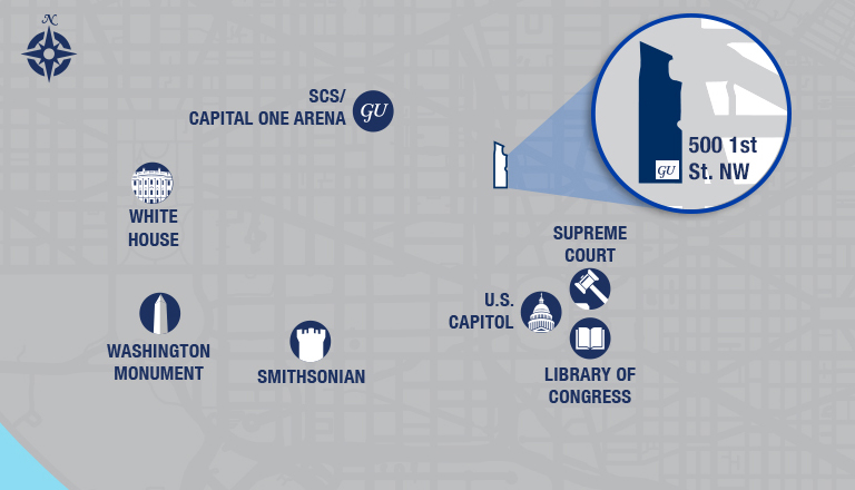 Graphic showing the locations of the White House, Washington Monument, Smithsonian, Georgetown's School of Continuing Studies, Capital One Arena, Library of Congress, Supreme Court, U.S. Capitol and 500 1st Street NW on a map