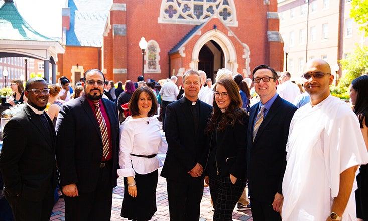 Rev. Brandon Harris, Iman Yahya Hendi, Rabbi Rachel Gartner, Rev. Gregory Schenden, S.J., Rev. Olivia Lane, Rev. Bryant Oskvig and Brahmachari Vraj Vihari Sharan