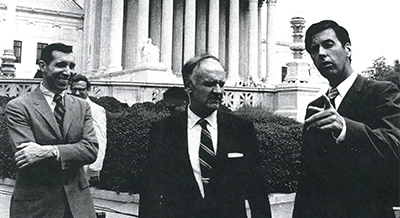 Tony Essaye (C'55), William Glendon and Roger Clark in front of the U.S. Supreme Court building.