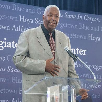 John Thompson Jr. speaks at the ground-breaking.