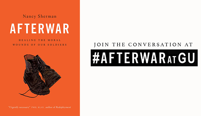 Cover of Nancy's Sherman's book, Afterwar, featuring combat boots.