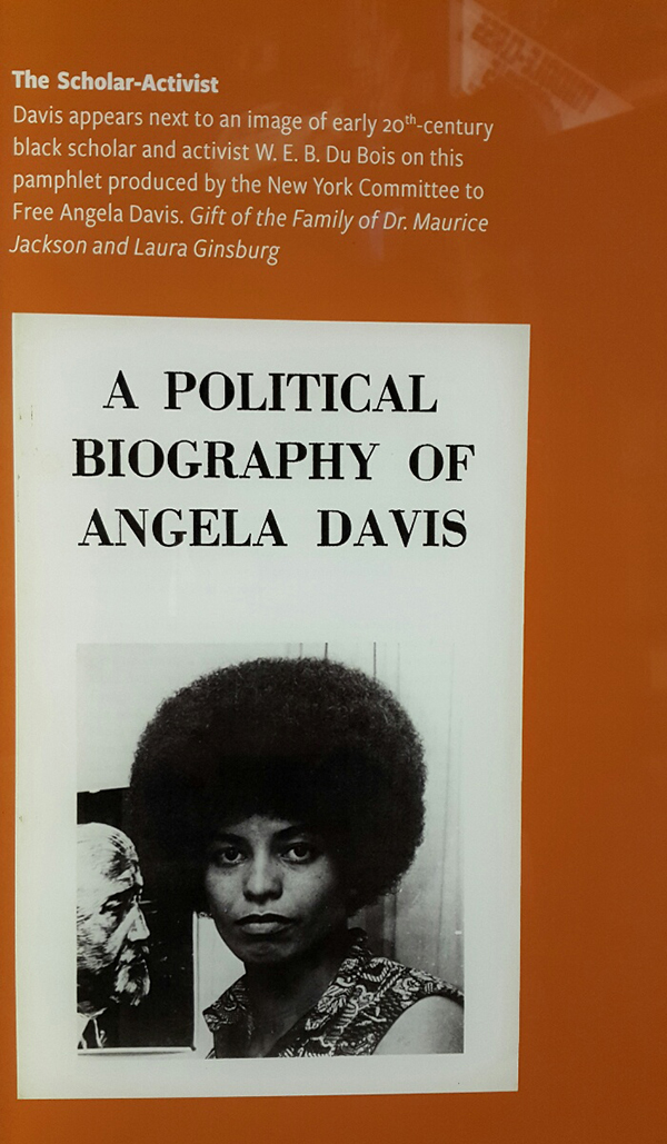 Museum exhibit features the Political Biogrpahy of Angela Davis.