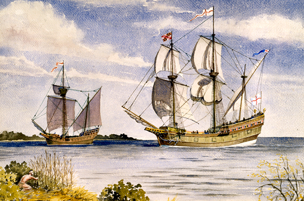 An illustration of the Ark and the Dove ships.