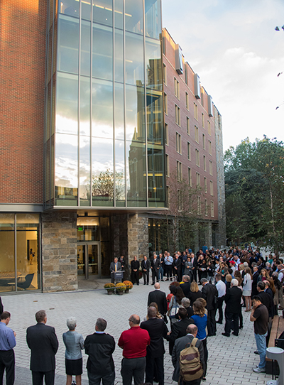 Georgetown community stands outside Pedro Arrupe, S.J. Hall large residence building