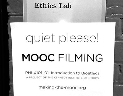 """A sign outside the Ethics Lab reads """"quiet please! MOOC FILMING."""""""