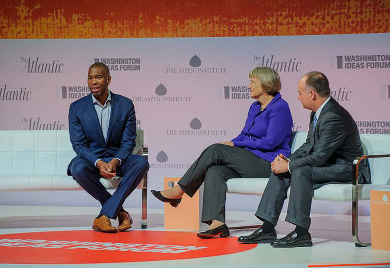 Atlantic correspondent Ta-Nehisi Coates talks with Georgetown President John J. DeGioia and Harvard President Drew Faust about universities and their historical ties to slavery