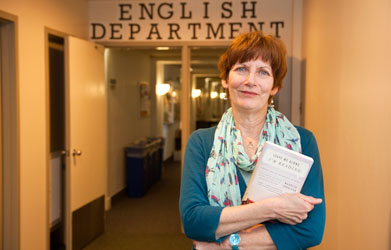 Maureen Corrigan in front of the English Department