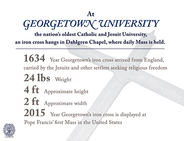 Infographic noting the year the cross arrived from England, 1634, its weight, 24 pounds, its height (four feet); width (two feet) and year it was used in a Mass by Pope Francis, 2015.