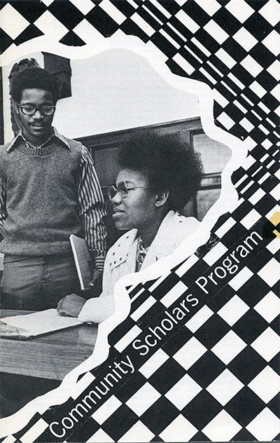 A black and white Community Scholars Program brochure features two students circa the 1970s.