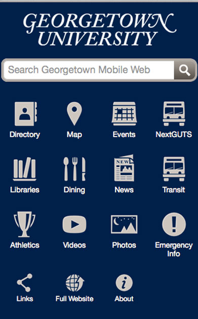 A photo of the dark blue homepage for the Georgetown University app.