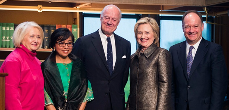 Hillary Rodham Clinton, Georgetown President John J. DeGioia, Melanne Verveer, Staffan de Mistura and Miriam Coronel-Ferrer smile for the camera at the 2015 Hillary Rodham Clinton Awards for Advancing Women in Peace and Security at Georgetown.