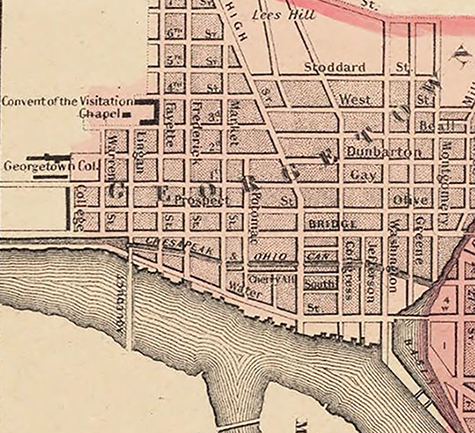 Map of Georgetown in Washington, D.C., in 1855