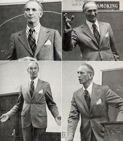 Four images of Jan Karski in a classroom lecturing.