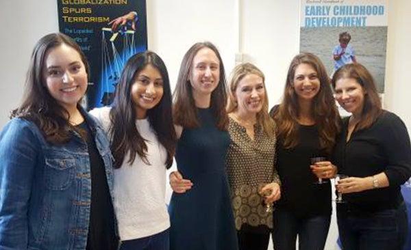 Lydia Meena, Kruti Vekaria, Kristin Brethel-Haurwitz, Abigail Marsh and Elise Cardinale pose together standing.
