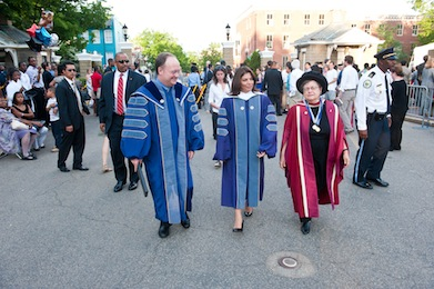 President DeGioia, left, walks with then-Costa Rica President Laura Chinchilla Miranda (G'89) and then-SFS Dean Carol Lancaster during 2011 Commencement Exercises.
