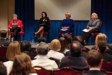 SFS Dean Carol Lancaster, left, serves on a panel with Kosovo President Atifete Jahjaga; Monica McWilliams, former chief commissioner of the Northern Ireland Human Rights Commission; and Melanne Verveer, executive director of the Georgetown Institute for Women, Peace and Security.