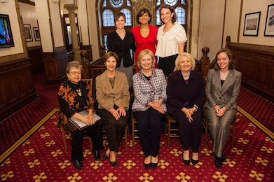 SFS Dean Carol Lancaster, left, sits with former First Lady Laura Bush, former U.S. Secretary of State Hillary Rodham Clinton, GWIPS executive director Melanne Verveer and other members of the GIWPS staff.