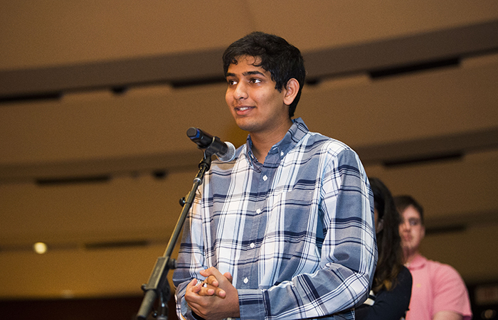 Vikram Venkatram stands at the front of a line to ask Madeleine Albright a question