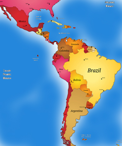 Map of Central America and South America.