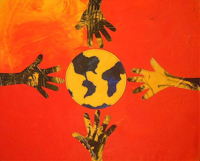 Four yellow and black hands reach for a yellow and black globe against orange background in Life Pieces to Masterpieces student art work