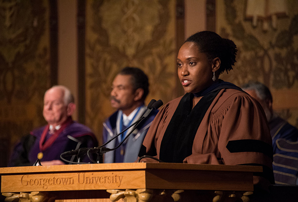 Professor Marcia Chatelain delivers the invocation during the honorary degree ceremony