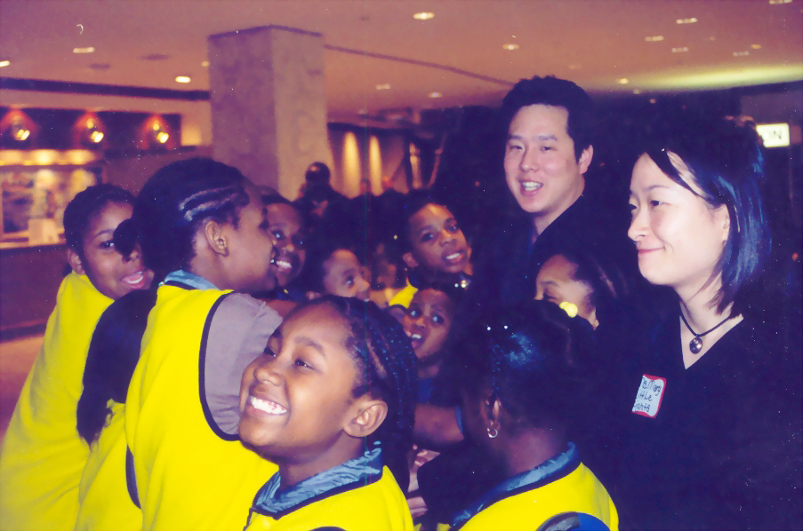 Steve and Mary Park share a happy moment with the students from Little Lights Urban Ministries.