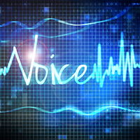 "A photo of the word ""Voice"" written like a wavelength."