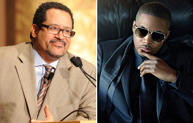 A splitscreen image with Professor Michael Eric Dyson on the left and Nas on the right.
