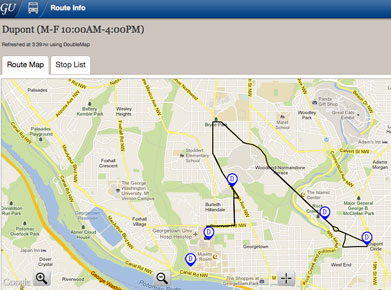 A photo of a real-time map of the Dupont GUTS bus.