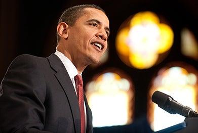 President Barack Obama at podium speaking in Gaston Hall