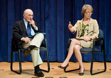 Dr. Edmund D. Pellegrino and Maggie Little, director of the Kennedy Institute of Ethics, discuss bioethics onstage during a 2009 event at Georgetown.