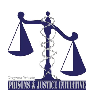 "A computer generated image depicts the scales of justice with the text ""Prisons and Justice Initiative"" at the base."