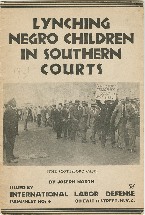 "old pamphlet on ""Lynching Negro Children in the Southern Courts"""