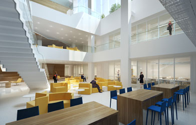 A rendering of the inside of Georgetown Downtown shows work spaces and seating for students, lots of light and open space with a grand staircase leading up two flights