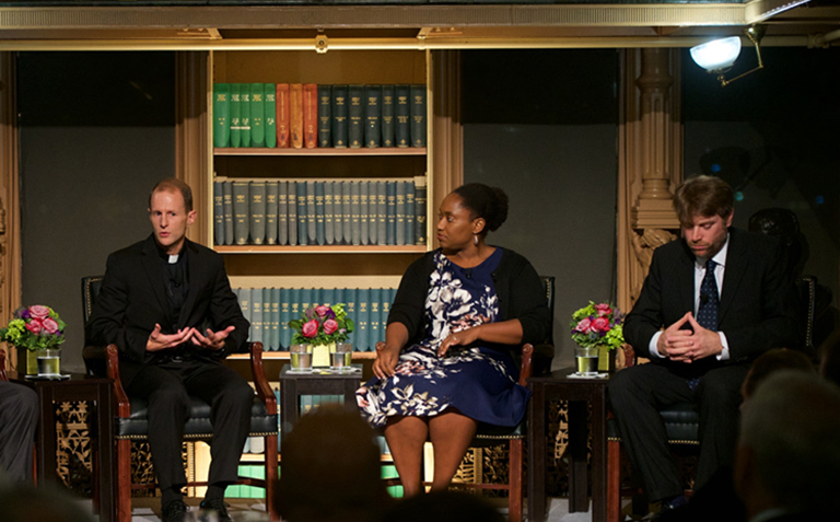 Members of Georgetown's Working Group on Slavery, Memory, and Reconciliation discuss their work