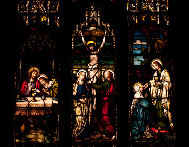 Stained glass windows portray Jesus and the apostles in Dahlgren Chapel