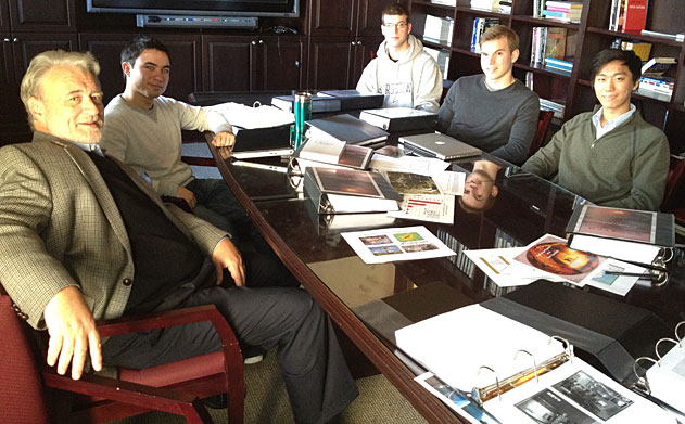Phillip Karber, Nick Yarosh, Jon-Michael Lagray, Iacopo Lash and William Kim sit at a table