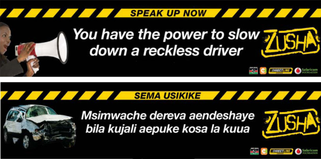 """Black stickers with yellow borders read """"Speak Up Now: You Have the Power to Slow Down a Reckless Driver."""""""