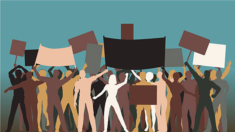 Illustration of silhouettes of people holding blank signs and protesting