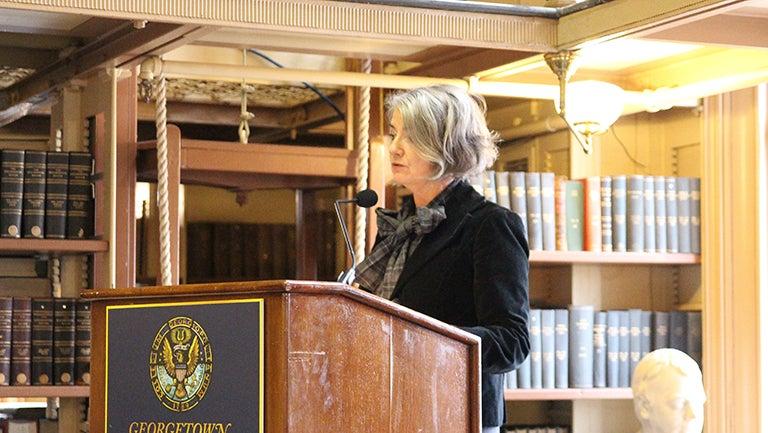Karin Olofsdotter, Sweden's ambassador to the United States, speaking at podium
