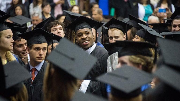 Graduating seniors at 2016 commencement