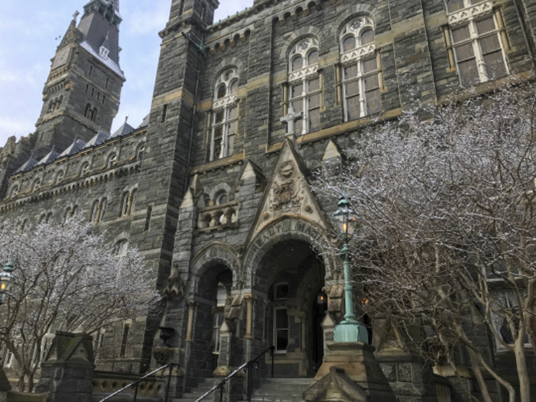 Healy Hall in the snow