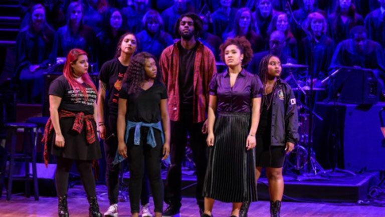 Abi Vega, Hannah Menakaya, Fatima Dyfan, Kenyon Smutherman, Myiah Smith and Maya Holmes onstage at the Kennedy Center
