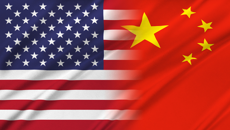 The United States flag blends into the Chinese flag