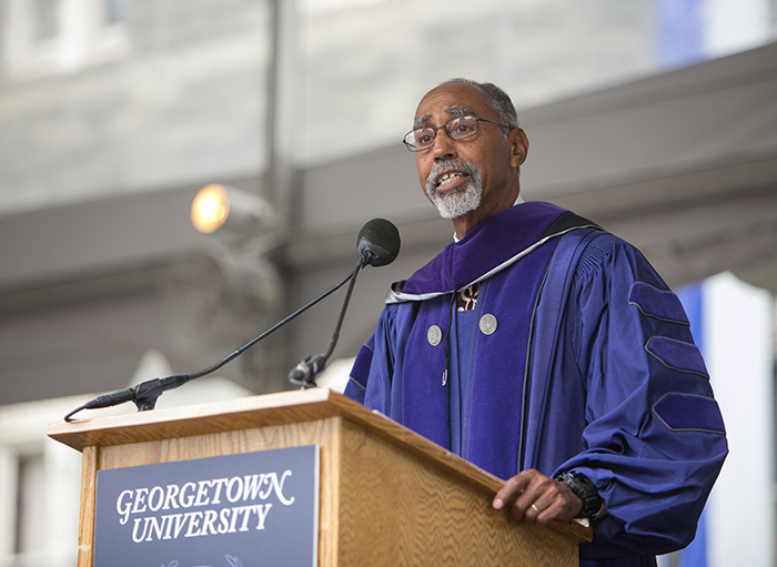 Charles Lawrence III speaks to the Law Center graduating Class of 2017