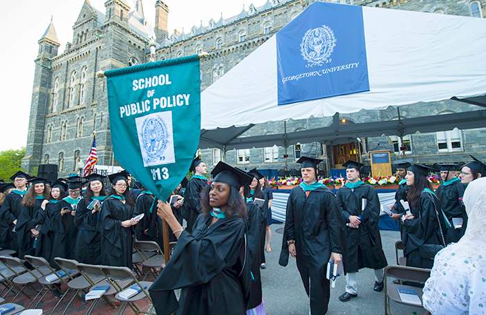 McCourt School of Public Policy graduates during the recessional