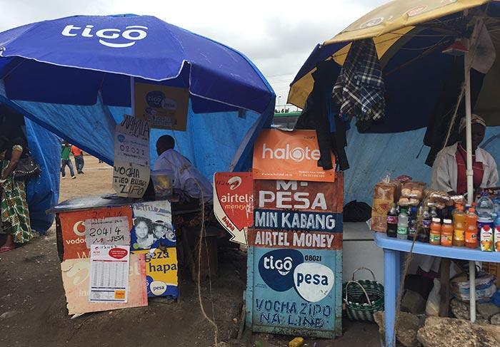 Vendor in East Africa sells mobile phones