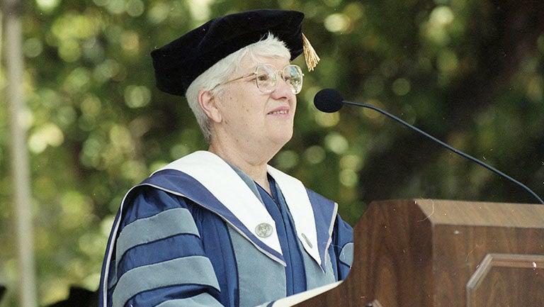 Vera Rubin astronomer dressed in academic regalia addressing graduates