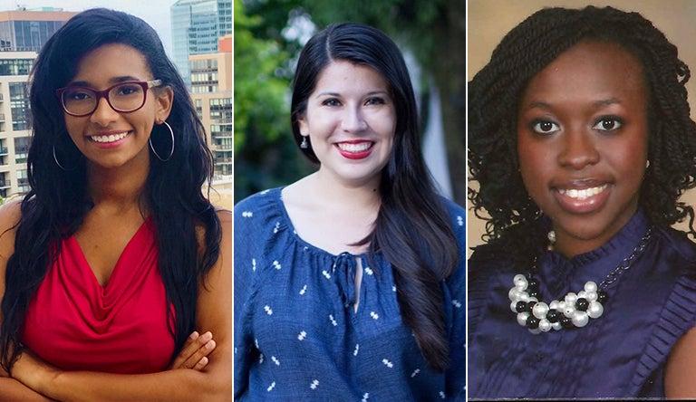 Anastasia Burnett, Stephanie Arzate and Yassitoungou Tamdji are shown in side-by-side photos